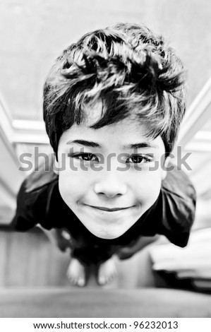 Little boy from above, wide angle - stock photo