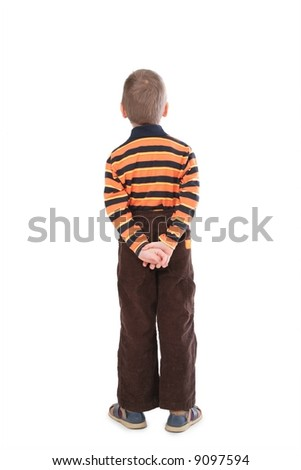 little boy from back isolated on white - stock photo