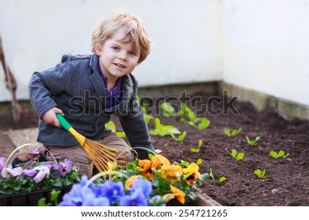 Little boy gardening and planting vegetable plants and flowers in garden, outdoors.  Active leisuer with kids, learning nature and environment. - stock photo