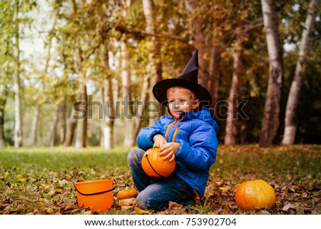 Good Little Boy Get Ready For Halloween Party In Autumn Nature