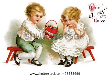 Little boy giving a Valentine basket to a cute little girl - a Victorian greeting card illustration, circa 1912 - stock photo