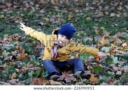 little boy having fun in the park - stock photo