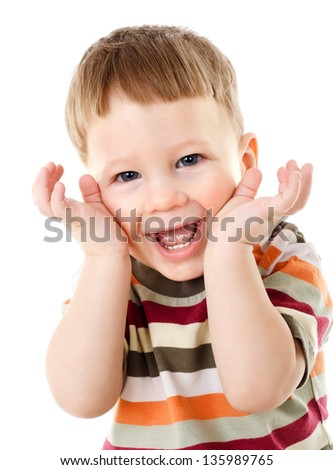 Little boy hide face under hands, playing hide-and-seek, isolated on white - stock photo