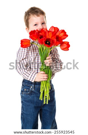 Little boy hide her face under the bouquet of a red tulips, isolated on white - stock photo