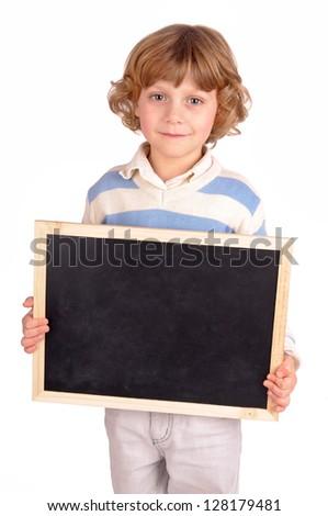 little boy holding a blackboard - stock photo