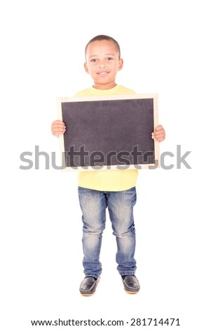 little boy holding a blackboard isolated in white - stock photo