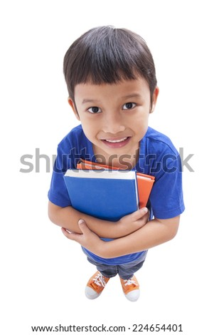 Little boy holding books with glasses  - stock photo