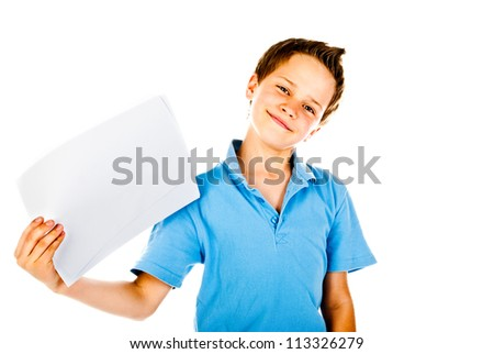 little boy holding empty sheet of paper - stock photo