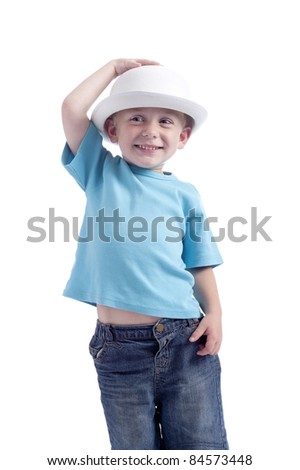 little boy holding his bowler hat. isolated on white background - stock photo