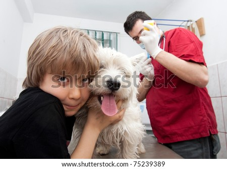 Little boy holding his Westie while the veterinarian is preparing to give a vaccine - stock photo