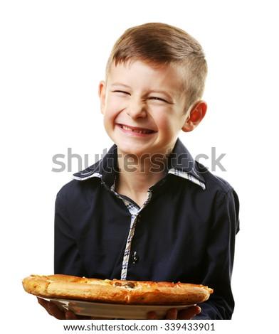 Little boy holding pizza isolated on white - stock photo
