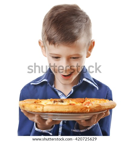 Little boy holding pizza isolated on white - stock photo