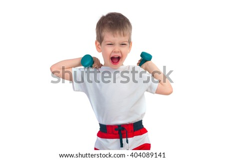 Little boy holding two blue dumbbells and cries on a white background - stock photo