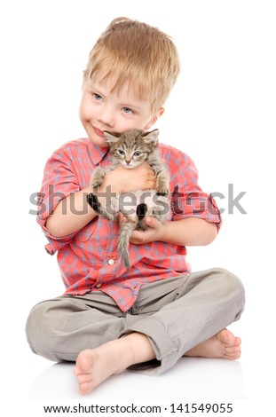 little boy hugging a kitten. isolated on white background - stock photo