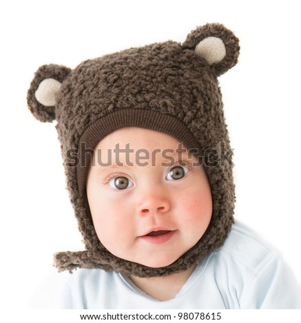 little boy in a cap with ear flaps - stock photo