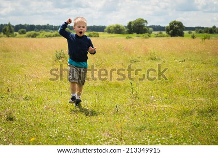 Little boy in a field.. Kid playing, running in nature. A child plays, field, grass, happiness, childhood. - The idea of a carefree childhood. Article about children games. - stock photo