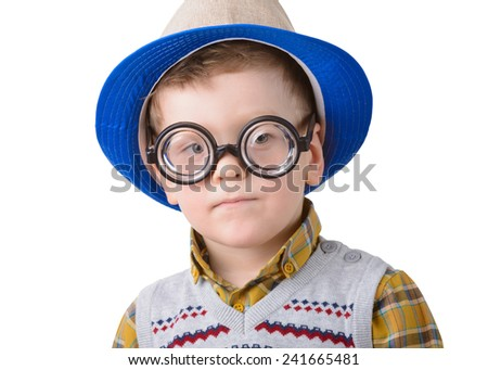 little boy in a hat and glasses on a white background - stock photo