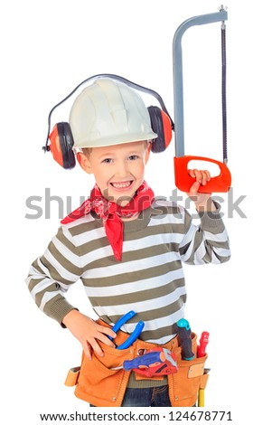 Little boy in a helmet plays in the builder with tools. isolated over white. - stock photo