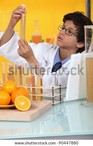 little boy in a lab - stock photo