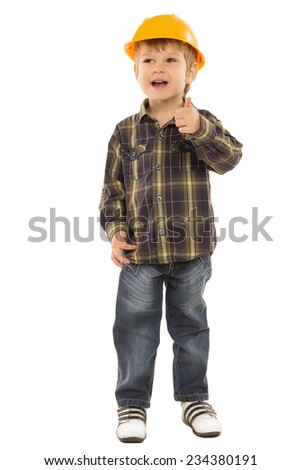 "little boy in a shirt and a helmet shows ""everything is fine"" on a white background"
