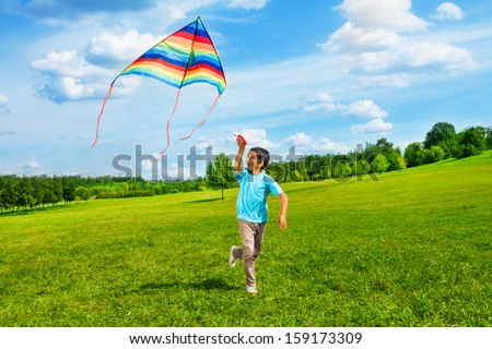 Little boy in blue shirt running with kite in the field on summer day in the park - stock photo