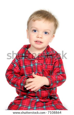 Little Boy in Christmas shirt and pants with white background - stock photo