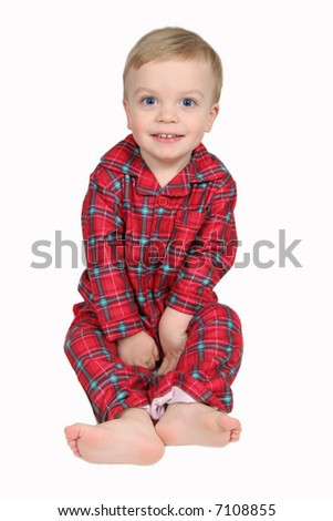 Little Boy in Christmas shirt and pants with white background - full view - stock photo