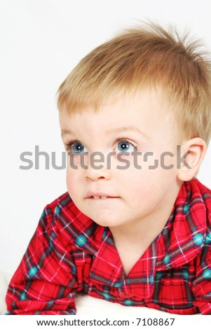Little Boy in Christmas shirt with white background - stock photo