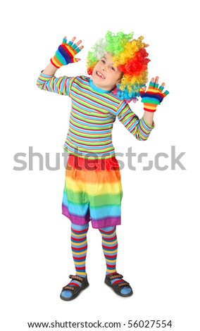 little boy in clown dress hands up isolated on white background - stock photo