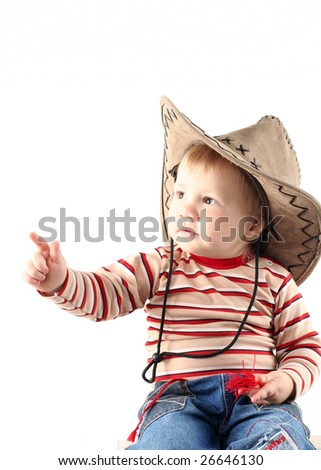 Little boy in cowboy hat isolated on white background - stock photo