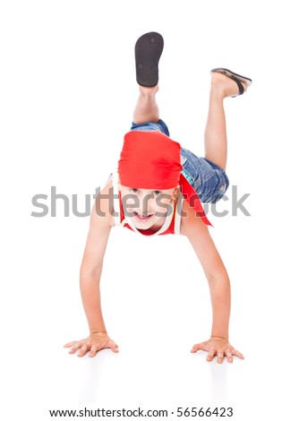 Little boy in dance. Isolated on white background - stock photo