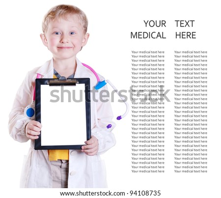 Little boy in doctor uniform with clip board in his hands over white background - stock photo