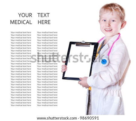 Little boy in doctor uniform with medical card in his hands over white background - stock photo
