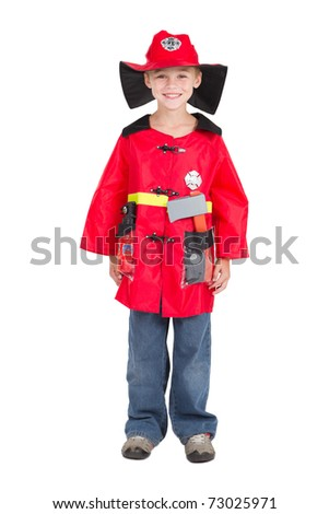little boy in firefighter uniform, isolated on white - stock photo