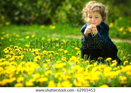 little boy in flowers field