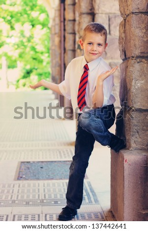 Little boy in formal wear - stock photo