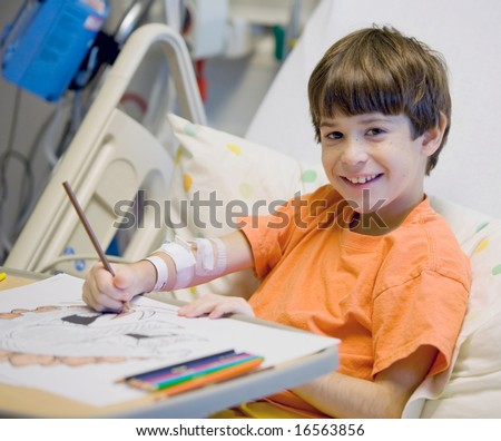 Little Boy in Hospital Feeling Much Better - stock photo