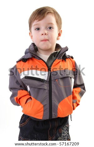 Little boy in jacket and jeans. Series - stock photo