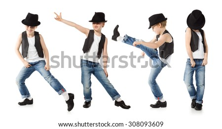 Little boy in jeance and hat is dancing on white - stock photo