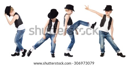 Little boy in jeans and hat is dancing on white - stock photo