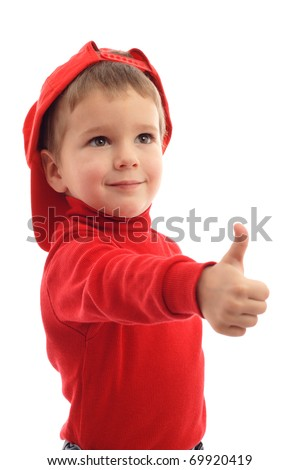 Little boy in red hat with thumb up sign, isolated on white - stock photo