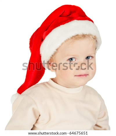little boy in santa hat - stock photo