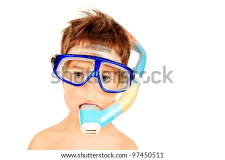 Little boy in scuba mask and snorkel. Isolated over white. - stock photo