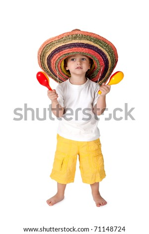 little boy in sombrero with with the maracas - stock photo
