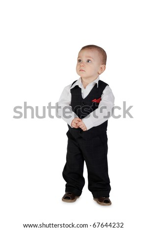 little boy in suit isolated on white