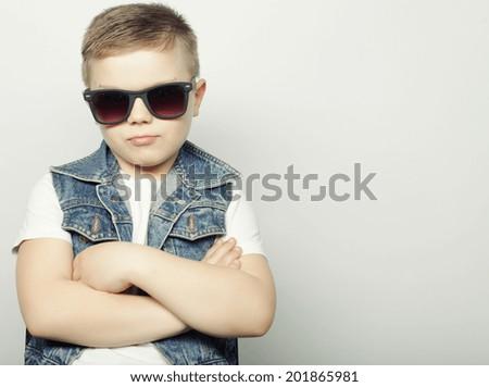 little boy in sunglasses - stock photo