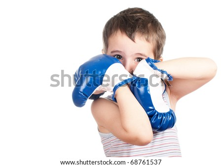 Little boy in tank top boxing isolated on white - stock photo