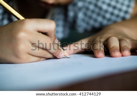 Little boy in the drawing. - stock photo