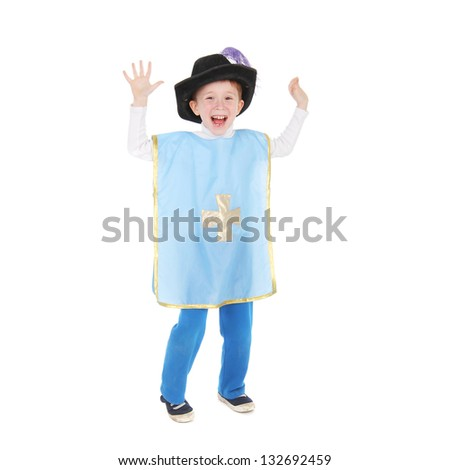 little boy in the musketeer costume - stock photo