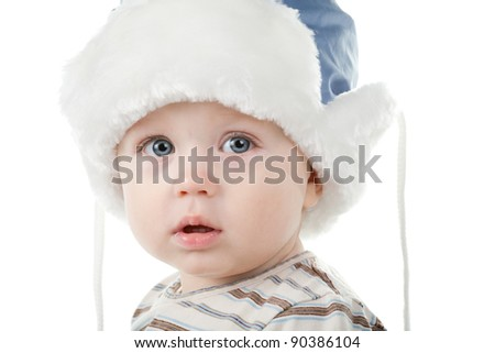 little boy in winter hat isolated on white background